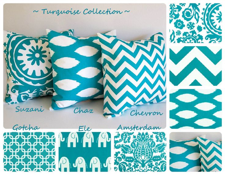 """Turquoise throw pillow cover 16"""" x 16"""" you choose fabric turquoise cushion cover chevron pillows. $16.00, via Etsy."""