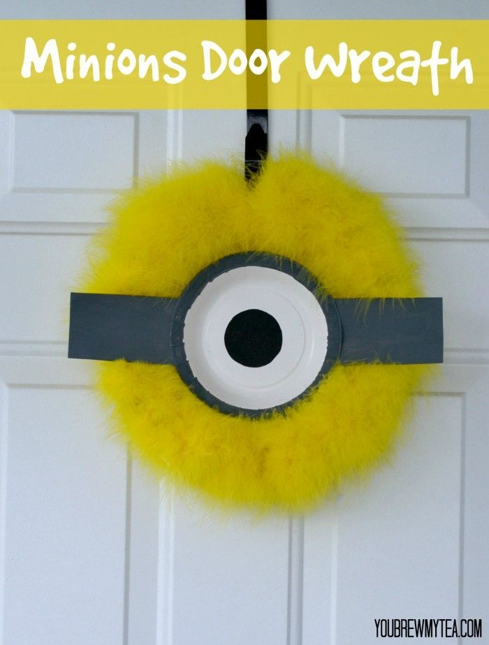 This super cute Minions Door Wreath is a perfect Minions birthday party decoration!