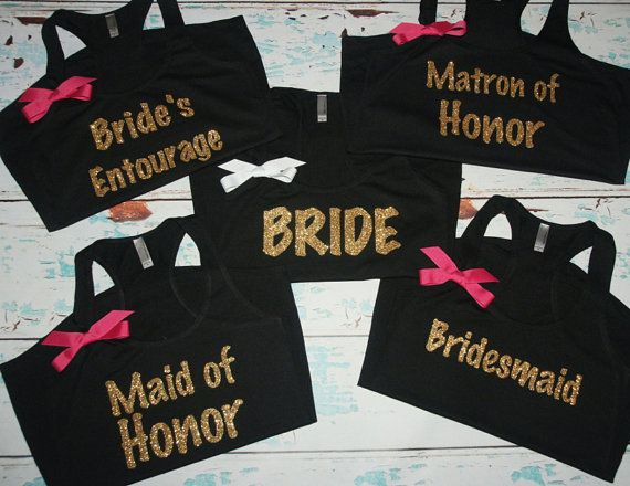 Bridesmaids tanks 6 Bachelorette shirts. by BrideAndEntourage oohhh with mint green bow instead of pink