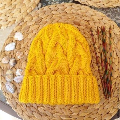 Шапочка из мериноса - жёлтый,однотонный,шапка,шапка вязаная,шапка женская