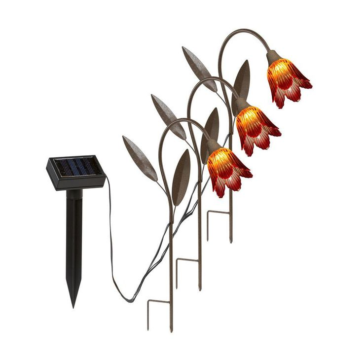 Hold all outdoor led solar tulip stakes path light 3pack
