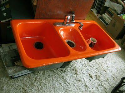 Cast Iron And Enamel American Standard Fiesta Triple Bowl Kitchen Sink