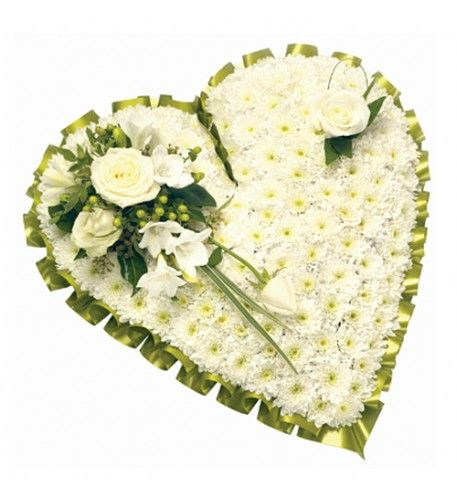 A traditional white heart featuring Roses, Freesia, Lisianthus, Chrysanthemums and green Hypericum.