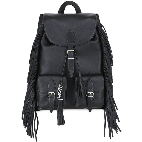 Saint Laurent Women Festival Leather Backpack ($1,730) ❤ liked on Polyvore featuring bags, backpacks, black, genuine leather backpack, knapsack bag, leather rucksack, day pack backpack and yves saint laurent bags