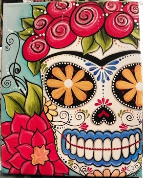 """Frida sugar skull""  my original painting 8x10 canvas  www.etsy.com/shop/mycreativebliss  www.facebook.com/meganksuarezfineart"