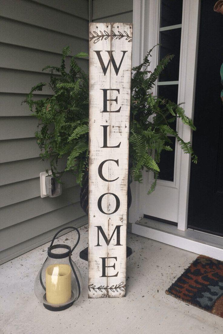 Welcome sign front door wood rustic easy diy