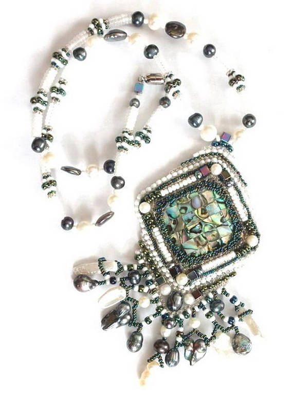 Beaded necklace with pearls Fairytale Beaded pendant Beaded