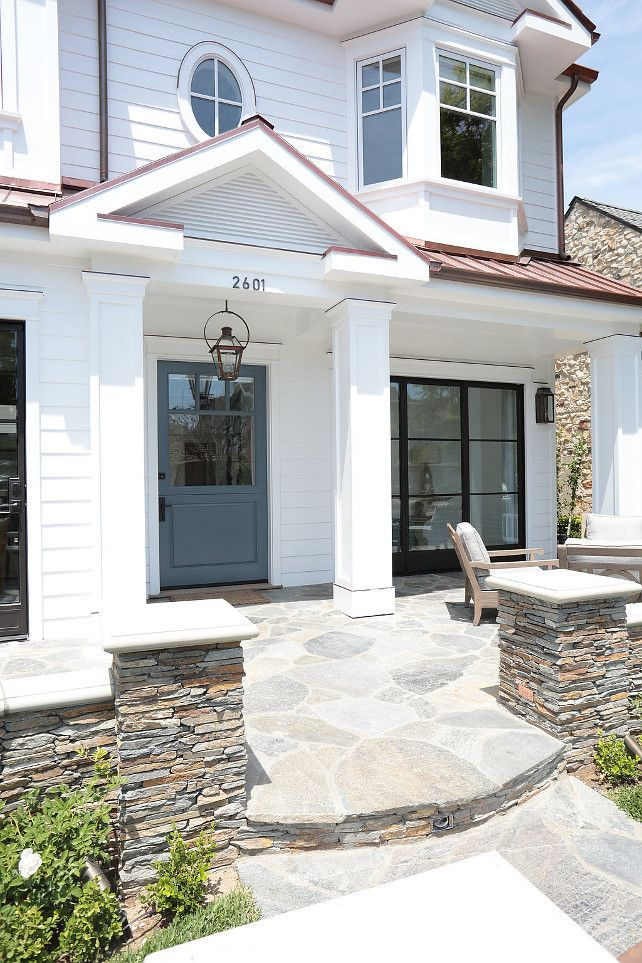 love the stone and the Dutch Door. #GrayFrontDoor #grayDoor #DutchDoor Blackband Design.