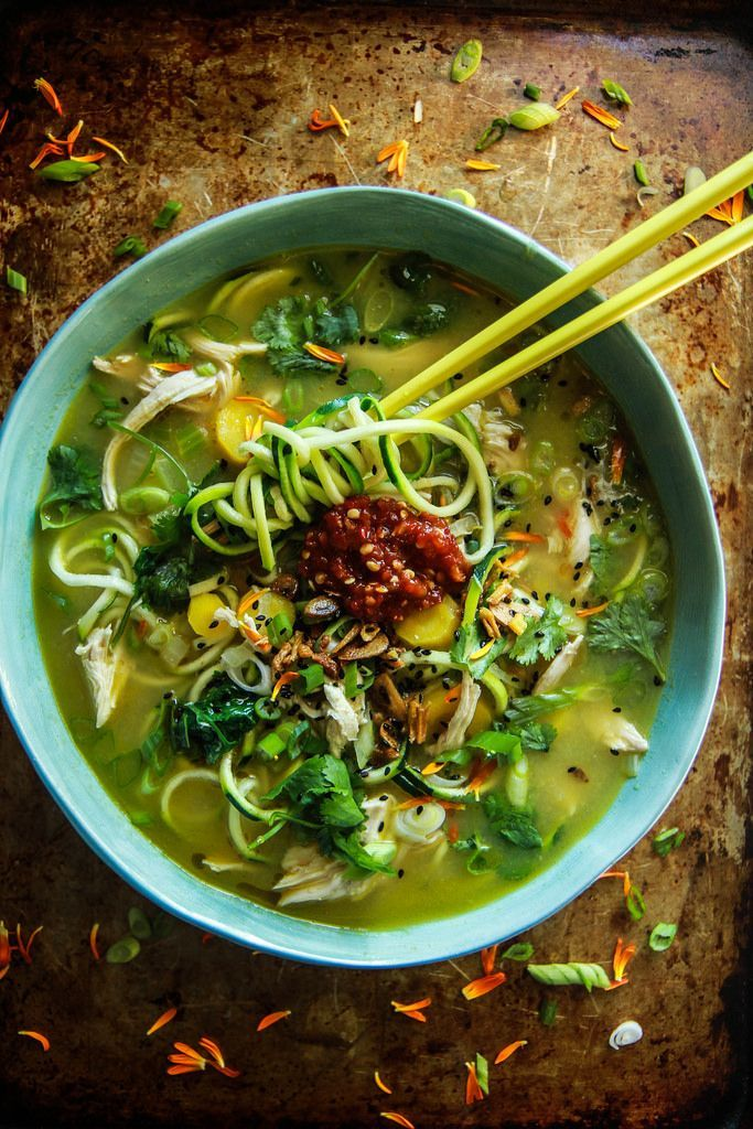 Asian Chicken Zoodle Soup from http://HeatherChristo.com