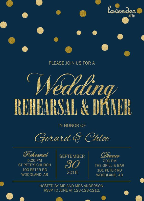 Navy Blue and Gold WEDDING REHEARSAL DINNER Invitation, Gold Glitters Rehearsal…
