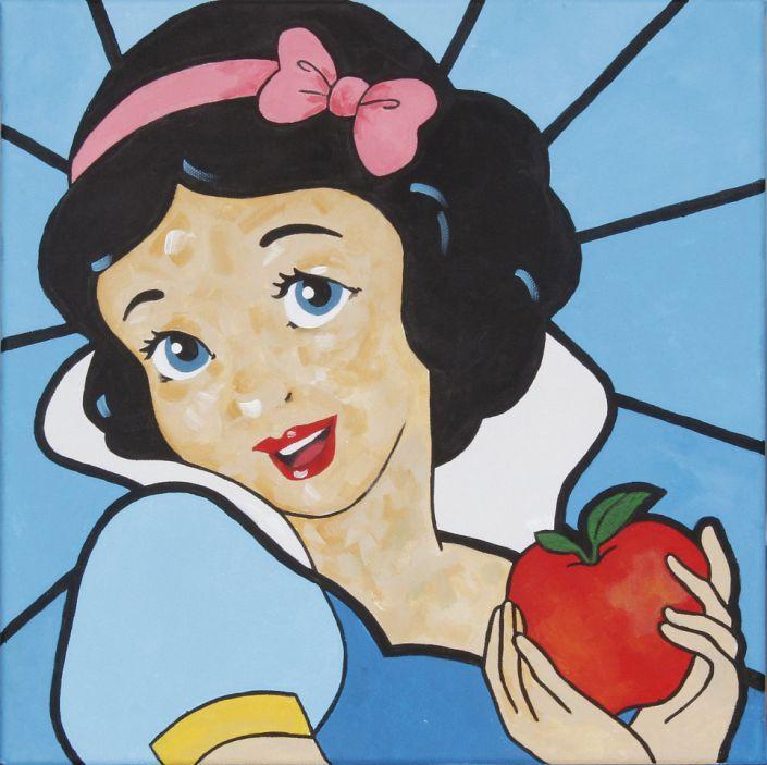 Alexandra Irlacher: Schneewittchen. #Acryl auf Leinwand #snowhite #Schneewittchen #Disney #Märchen #Apfel #apple #Gemälde #painting #alexandrairlacher #startyourart www.startyourart.de