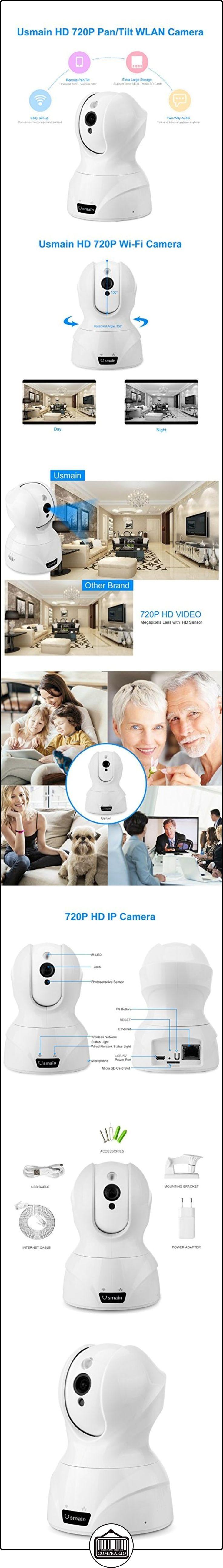 Usmain HD 720P WiFi Monitor de Bebé para Interiores con Panorámica y Cabeceo Cámara IP Inalámbrica de Vigilancia/Cámara de Seguridad para el Hogar con Infrarojos y Vision Nocturna, Detector de Movimiento, Video Remote y Studio Incorporamicrófono y Ranura para MicroSD  ✿ Vigilabebés - Seguridad ✿ ▬► Ver oferta: http://comprar.io/goto/B01KI2BC1K