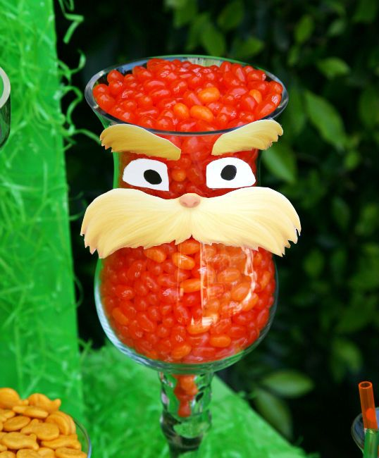 the Lorax   Party food display  Dr Seuss