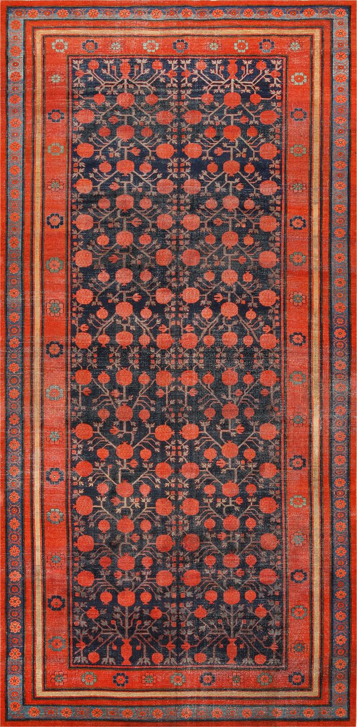 Antique Pomegranate Design Yarkand Khotan Rug 49173