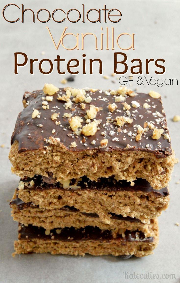 Vegan Chocolate Vanilla Protein Bars #GlutenFree | Kalecuties.com More