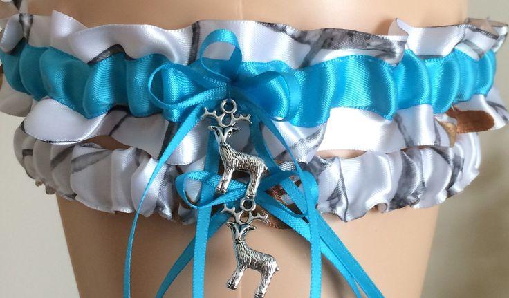 True Timber Turquoise Camo Wedding Garter Set, Prom Garter Set
