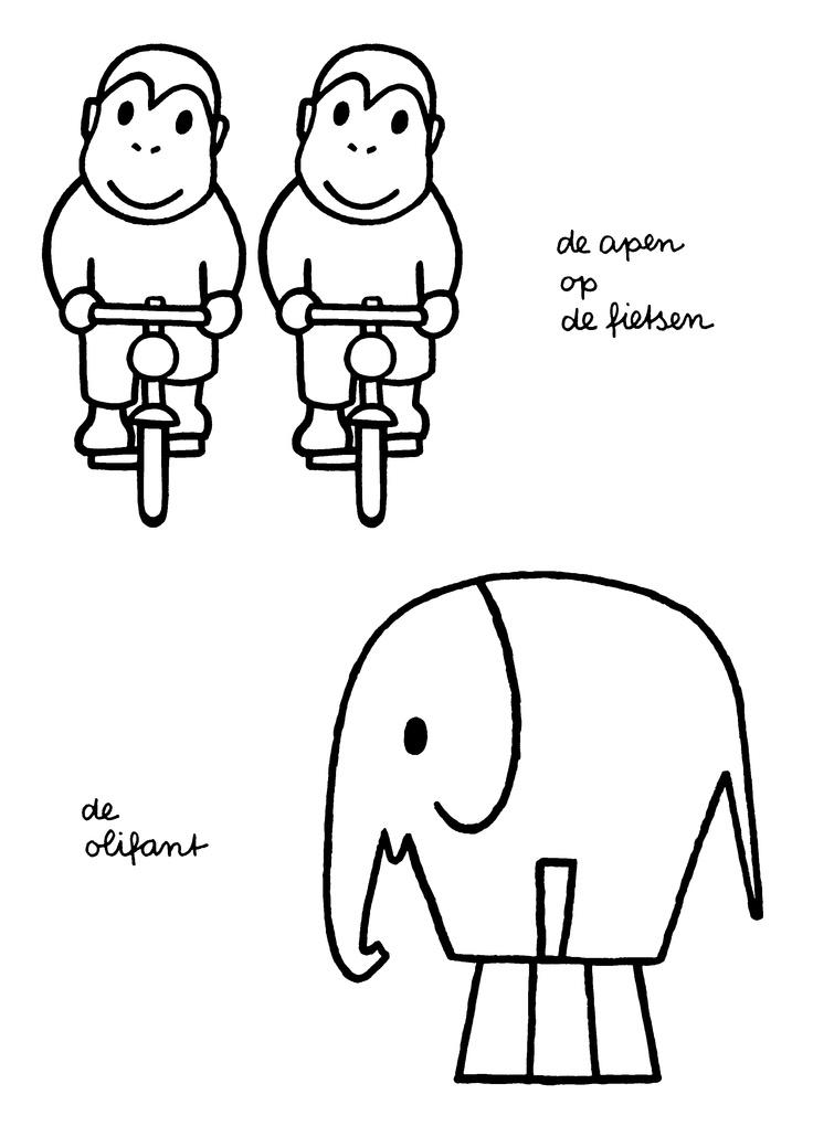 Dick Bruna - De apen op fietsen. De olifant.
