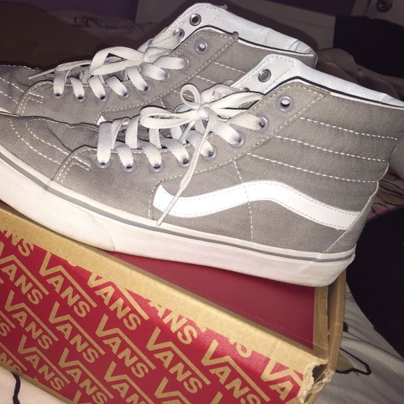 Gray Sk-8 Hi Vans Grey Sk-8 Hi Vans in pretty good condition 7.5/10 to 8/10 Outer Sole Just Needs A Little Cleaning They Are An 8 In Men's And A 9.5 In Women's Vans Shoes