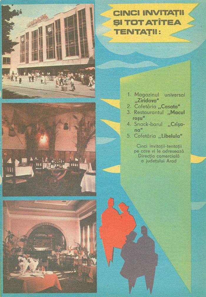 Reclama Magazin Ziridava, Cofetaria Libelula, Restaurant Macul Rosu Arad - #retro #advertising #romania #arad