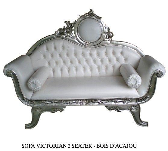 Canap bois argent et imitation cuir blanc mod le victorian id al pour un - Canape imitation cuir ...