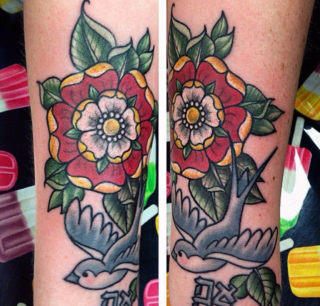 Tudor rose with sparrow and symbol . Colourful traditional tattoo. Edmonton tattoo artist.