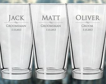 These engraved Pint Glasses are PERFECT gifts for Groomsmen gifts, Ushers, Bridesmaids, or Bride and Groom! They make excellent wedding party