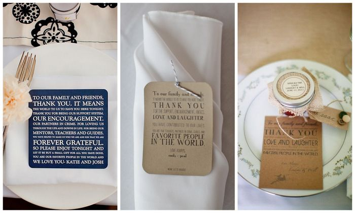 thank yous at each place setting for your wedding guests | via oh lovely day