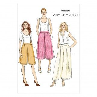 Vogue Ladies Easy Sewing Pattern 9091 Culottes & Pants | Sewing | Patterns | Minerva Crafts