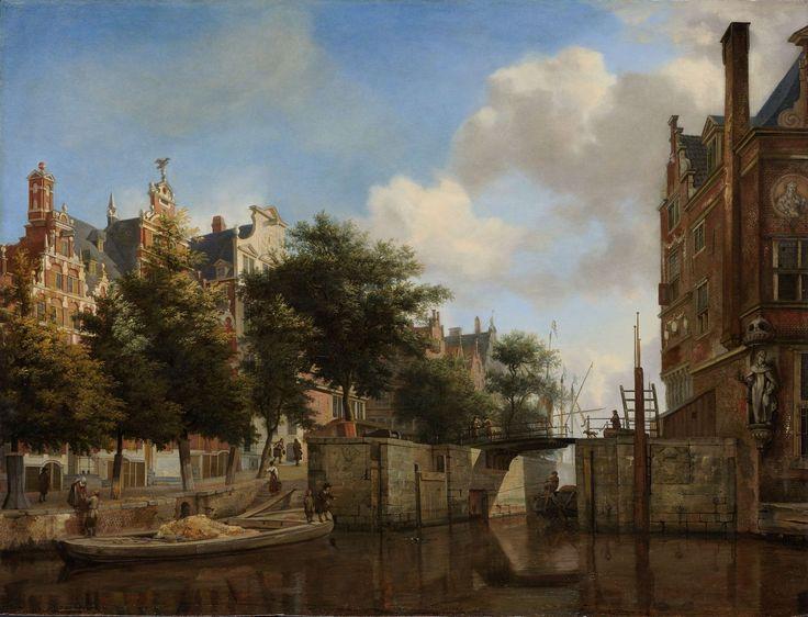 Oh, How I love Amsterdam!    Amsterdams stadsgezicht met huizen aan de Herengracht en de oude Haarlemmersluis, Jan van der Heyden, ca. 1670