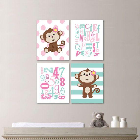 Baby Girl Nursery Art - Monkey Nursery - Monkey Bedroom - Monkey Decor - Monkey…