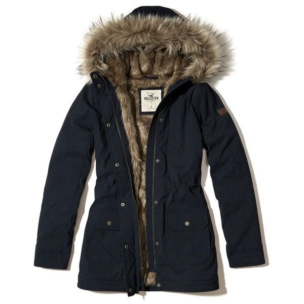 Hollister Stretch Cozy-Lined Parka ($160) ❤ liked on Polyvore featuring outerwear, coats, navy, faux fur trim coat, cinch coats, utility coat, faux fur trim hooded coat and navy blue coats