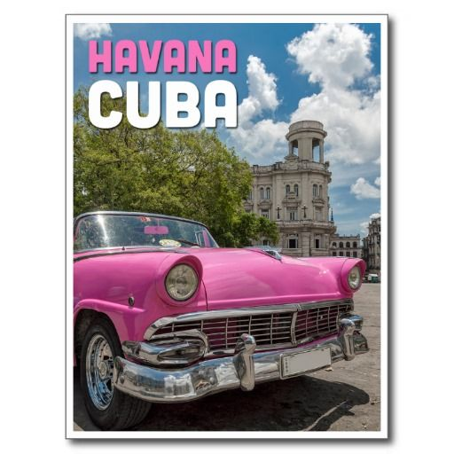 Coche cubano rosado en la postal de La Habana #tarjeta #postal #postcard
