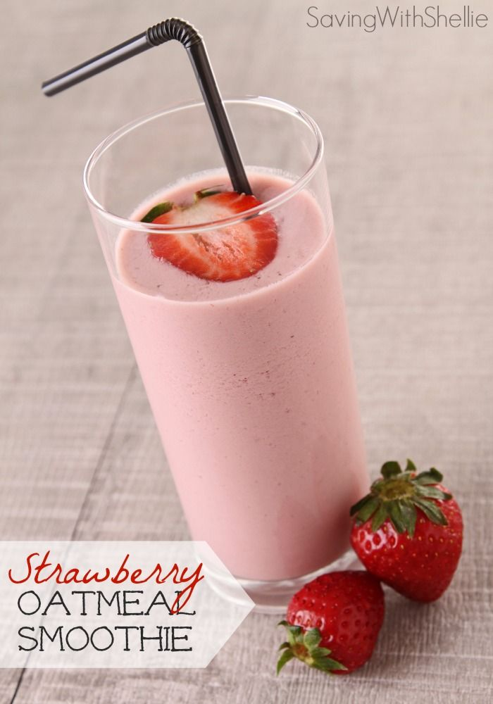 This yummy Strawberry Oatmeal Smoothie is packed with protein for lasting energy all morning long. It's the perfect blend-and-go breakfast as you head to work or school.