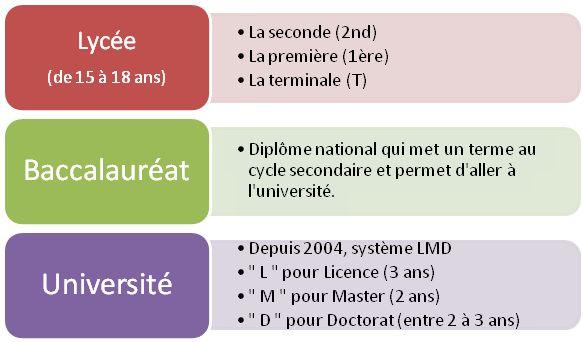 Vous avez envie d'en savoir plus sur le système scolaire français? Observez  le document et répondez aux questions.
