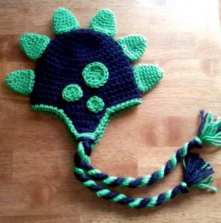 Crochet Dinosaur Earflap Beanie Hat - Picture Idea
