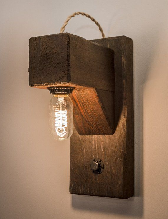 Rustic Hangman Style Wall Sconce With Edison Bulb Rustic Bathroom Lighting Rustic Wall Sconces Wood Lamps