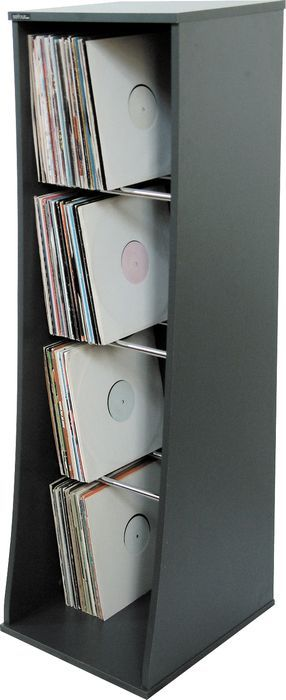 Tower-style record storage unit by Sefour, holds 500 LPs; $170 on Musician's Friend