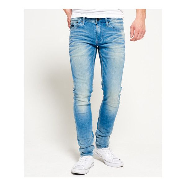 Superdry Skinny Jeans ($75) ❤ liked on Polyvore featuring men's fashion, men's clothing, men's jeans, blue, mens leather jeans, mens zipper jeans, mens skinny fit jeans, mens leather skinny jeans and mens blue skinny jeans