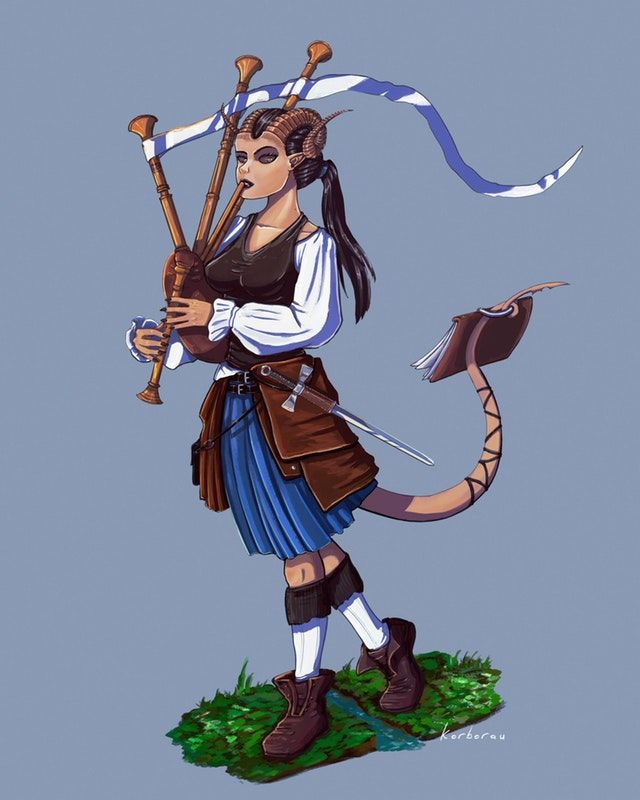 Art] Tiefling Bard with bagpipes : DnD | Rhuby, dwarven bard
