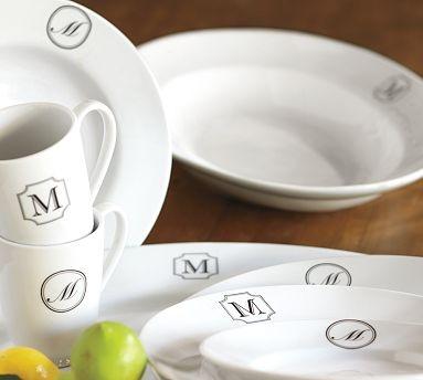 For Me : Monogram Great White Dinnerware from Pottery Barn