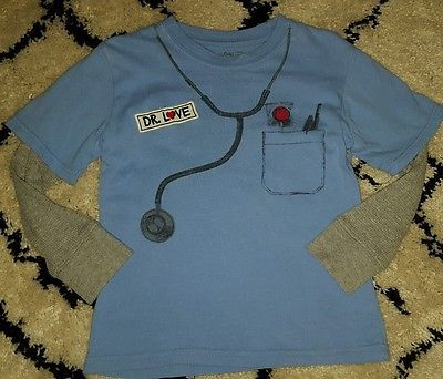 Baby Gap boys shirt 4T Dr. Love heart patch blue gray valentine