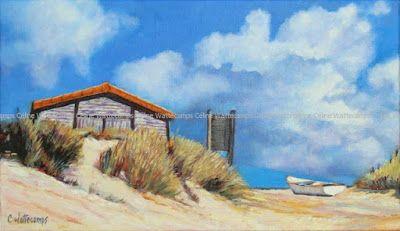 Tableau, dune, barque, mer... #Art #Artiste