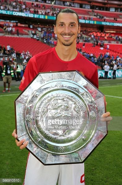 Zlatan Ibrahimovic of Manchester United with the Community Shield after the final whistle during The FA Community Shield match…