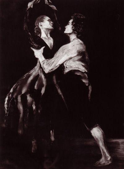 """Dancers"" monotype print"