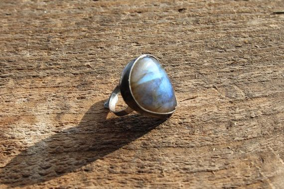 Labradorite stone ring Big large blue green by CreativeStudioML
