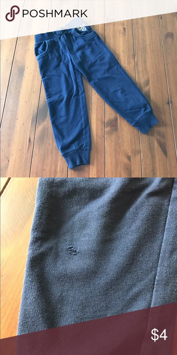 GAP Navy Blue Sweatpants GAP Navy Blue Sweatpants • Size: 4T • Cotton, Polyester • Machine Wash • Elastic Waist and Ankles • Imperfections: Small hole on front of right leg and pitting • Original Price: $16.95 GAP Bottoms Sweatpants & Joggers
