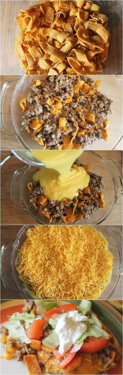 Easy Chili Cheese Frito Taco Bake Recipe-Frito Taco Casserole. Easy Dinner Ideas with hamburger for busy weeknights. This Taco Bake is a very kid friendly recipe.