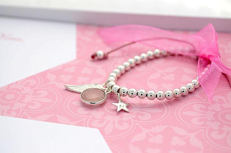 Namensketten - 925 Silber Taufarmband ♥ Rosenquarz, Stern, Engel - ein Designerstück von Bloomgart bei DaWanda