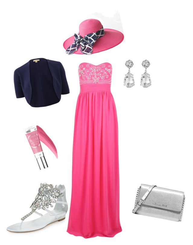 Pink, dark blue & silver by slavka-cesnek on Polyvore featuring Boohoo, Michael Kors, René Caovilla and Kenneth Jay Lane