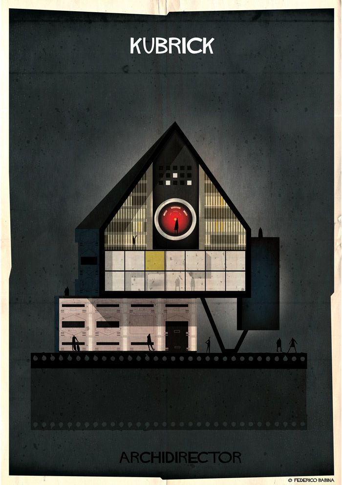 Brincadeira com a arquitetura da casa de diretores famosos retratada em cartazes. Clicar pra ver tudo.